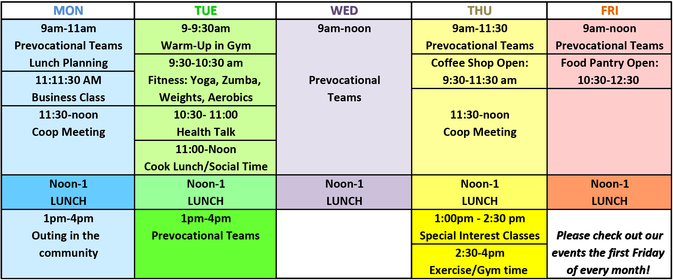 Stepping Stone Weekly Schedule
